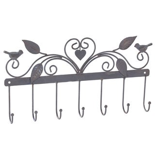Ikee Design Metal Wall Mounted and Wall Hooks Hanging Organizer with Seven Hooks