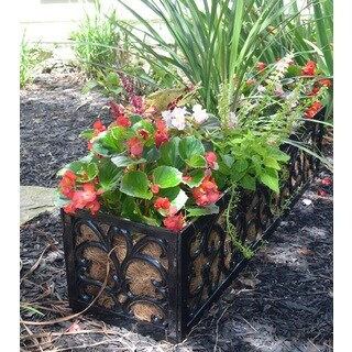 English Garden Canterbury Cast Aluminum Rectangular Planter with Coco Liner