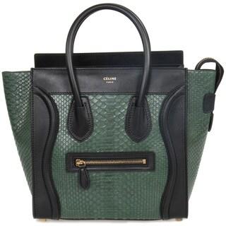 Celine Micro Emerald Green Python Embossed Black Leather Handbag