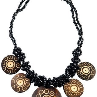 1 World Sarongs Women's Beaded Jewelry Flower of Life Round Pendant Coconut Necklace