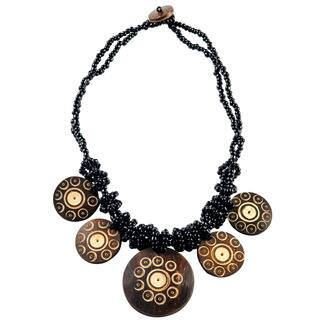 1 World Sarongs Women's Beaded Jewelry Flower of Life Round Pendant Coconut Necklace|https://ak1.ostkcdn.com/images/products/13848837/P20491222.jpg?impolicy=medium