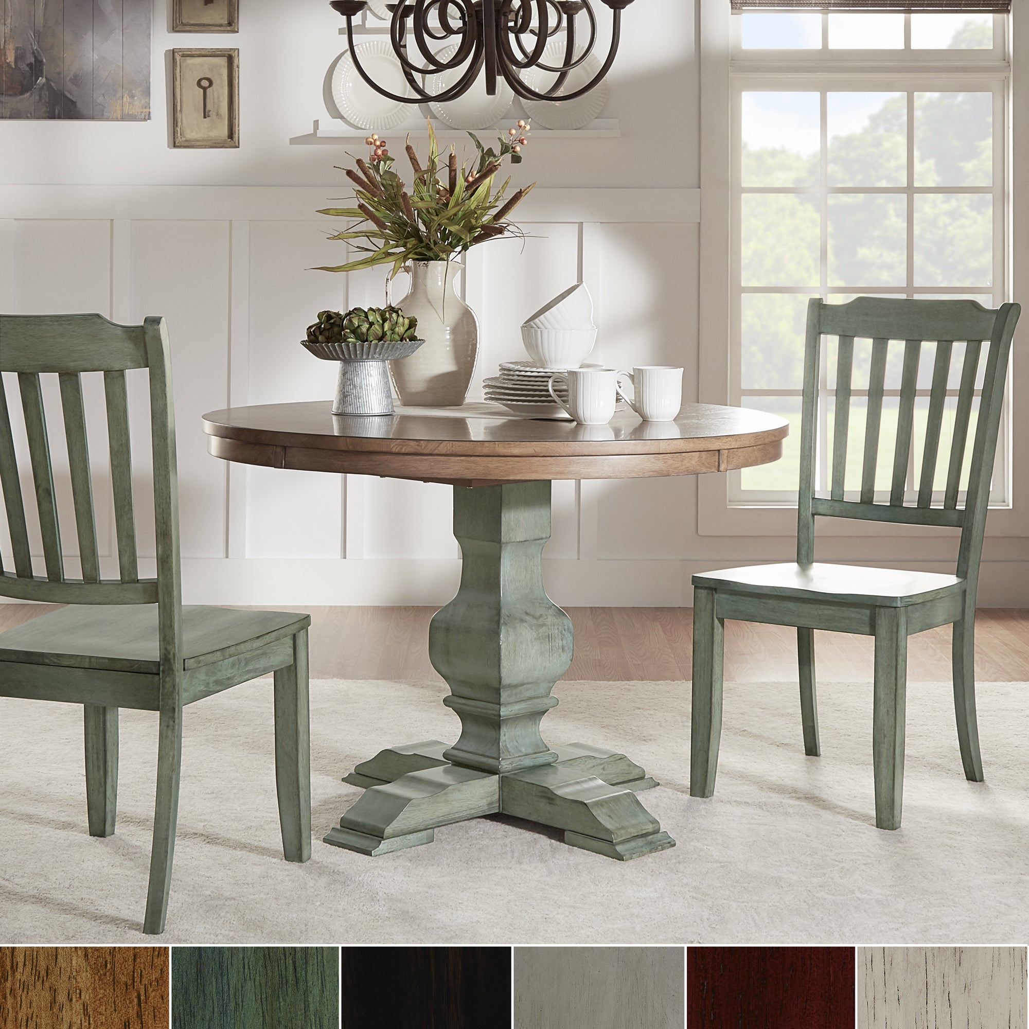 Eleanor Oak And Antique Sage Green Wood 3 Piece Round Table And Slat Back Dining Set By Inspire Q Classic Overstock 13848838