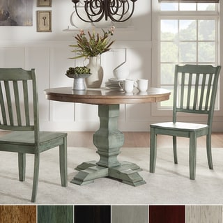Eleanor Oak and Antique Sage Green Solid Wood Round Table 3-piece Slat Back Dining Set by TRIBECCA HOME
