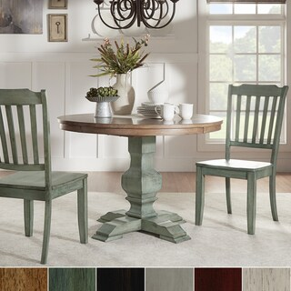 Eleanor Oak and Antique Wood 3-piece Round Table and Slat Back Dining Set by iNSPIRE Q Classic