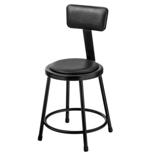Black Vinyl Padded Stool with backrest