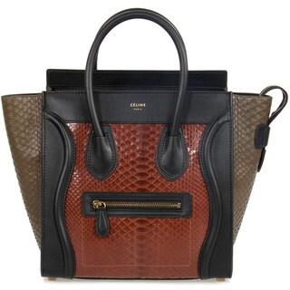Celine Micro Rust Brown and Taupe Python Embossed Black Leather Handbag