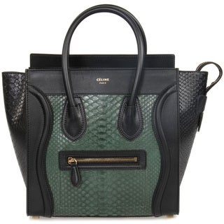 Celine Micro Emerald Green and Black Python Embossed Black Leather Handbag