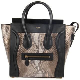 Celine Micro Natural Python Embossed Black Leather Handbag