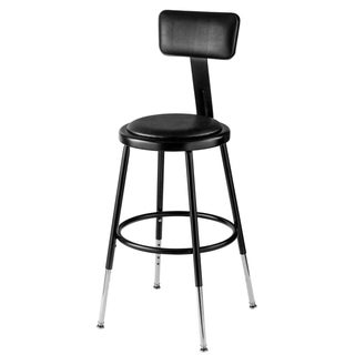 Black Vinyl Adjustable Height Padded Stool with backrest
