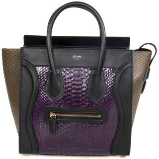 Celine Micro Purple and Taupe Python Embossed Black Leather Handbag