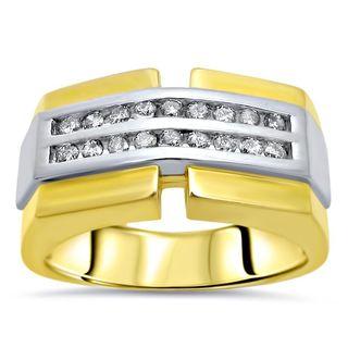 Noori 14k Yellow Gold Mens 2/5ct Round Diamond Ring