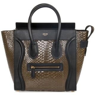 Celine Micro Brown Python Ebmossed Black Leather Handbag