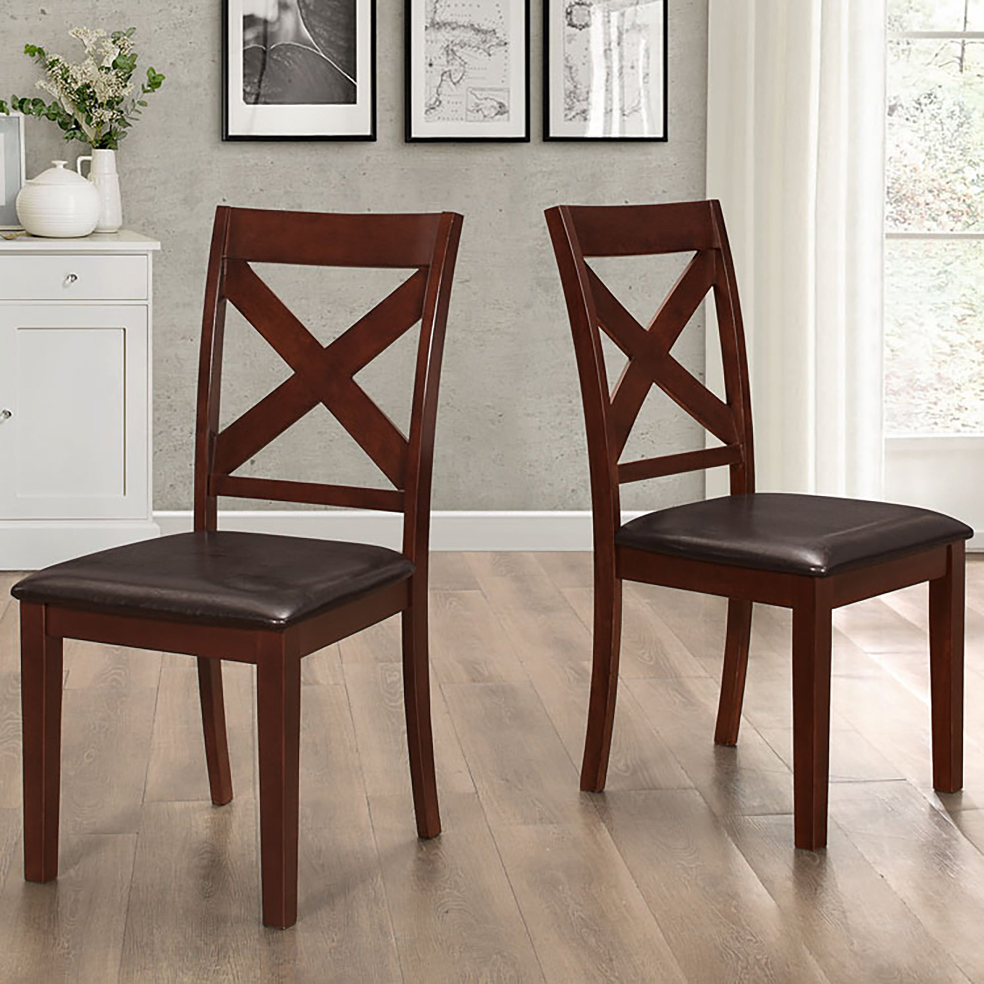 Solid Espresso Wood X-Back Padded Dining Chairs - Set of ...