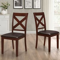 Solid Espresso Wood X-Back Padded Dining Chairs - Set of 2