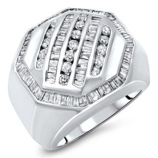 Noori 14k White Gold Men's 1 2/5ct TDW Round and Baguette Diamond Ring (I-J, I2-I3)