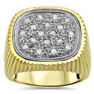 Noori Mens 1/2 ct Round Diamond Ring 14k Yellow Gold