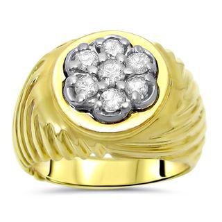 Noori 14k Yellow Gold Men's 1/2ct TDW Round Diamond Ring (I-J, I2-I3)