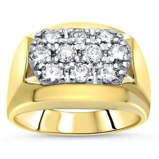 Noori Mens 1 ct Round Diamond Ring 14k Yellow Gold