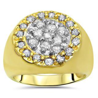 Noori Mens 1 1/3 ct Round Diamond Ring 14k Yellow Gold