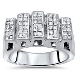 Noori 14k White Gold Mens 1 1/2ct Princess Cut Diamond Ring