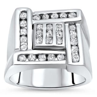Noori 14k White Gold Mens 3/4ct Round Diamond Ring 14k White Gold