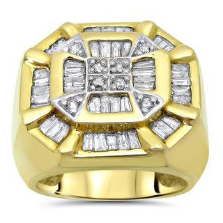 Noori 14k Yellow Gold Men's 1 3/4ct TDW Round and Baguette Diamond Ring (I-J, I2-I3)