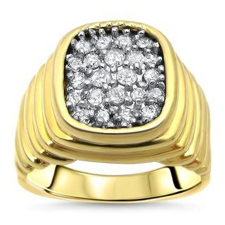 Noori Mens 14k Yellow Gold 1/2ct TDW Round Diamond Ring