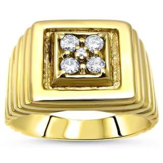 Noori 14k Yellow Gold Mens 1/5ct Round Diamond Ring