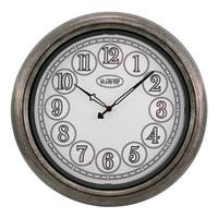 La Crosse Clock 404-3246 18 In Indoor/Outdoor Analog Lighted Dial Wall Clock in Antique Nickel finish