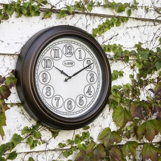 La Crosse Clock 404-3246BR 18 In Indoor/Outdoor Analog Lighted Dial Wall Clock in Antique Bronze finish