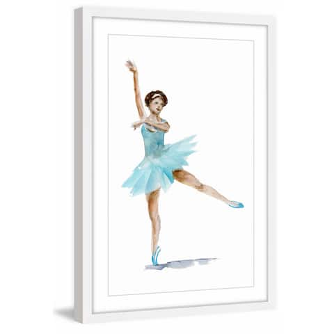 Marmont Hill - Handmade Ballet Dancer Aqua Framed Print