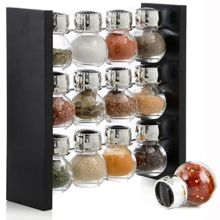 Belmint Black Spice Rack Stand Holder with 12 Glass Bottles