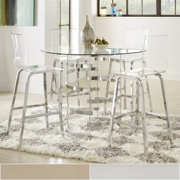 Nova Round Glass Top Vortex Iron Base 5 Piece Counter Height Dining Set By  INSPIRE