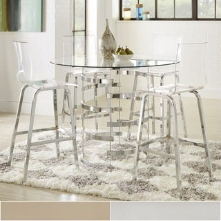 Nova Round Glass Top Vortex Iron Base 5-Piece Counter Height Dining Set by iNSPIRE Q Bold