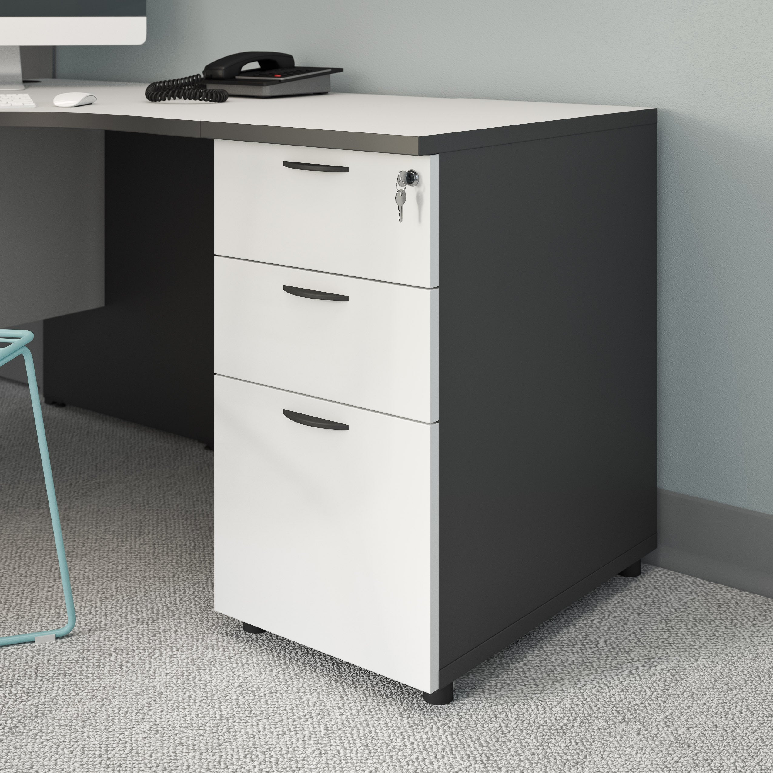 CorLiving Workspace Desk-height Filing Cabinet (3-drawers...