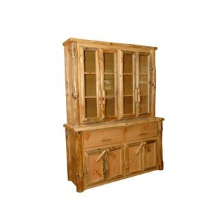 Rustic Pine Log Buffet and Hutch / China Cabinet
