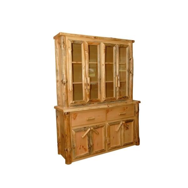 Pine China Cabinet Hutch: Shop Rustic Pine Log Buffet And Hutch / China Cabinet