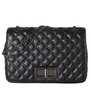 Diophy Large Quilted Pattern Crossbody Handbag