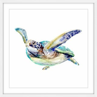 Marmont Hill - 'Sea Turtle Swims' by Michelle Dujardin Framed Painting Print (More options available)
