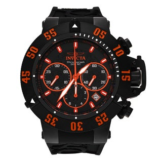 Invicta Men's 'Subaqua' 22923 Black Ion Plated Chronograph Silicone Strap Watch