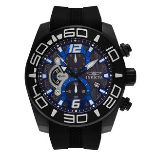 Invicta Men's 'Pro Diver' 22813 Black Ion Plated Blue Chronograph Dial Silicone Strap Watch