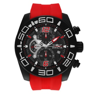 Invicta Men's 'Pro Diver' 22810 Black Ion Plated Chronograph Red Silicone Strap Watch