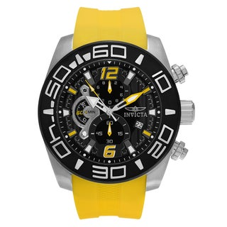 Invicta Men's 'Pro Diver' 22808 Stainless Steel Chronograph Yellow Silicone Strap Watch