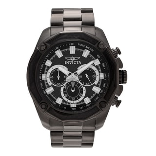 Invicta Men's 'Aviator' 22807 Black Ion Plated Chronograph Link Bracelet Watch