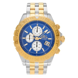 Invicta Men's 'Aviator' 18851 Two Tone Chronograph Blue Dial Link Bracelet Watch