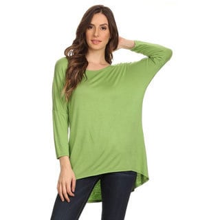 Women's Dolman Solid-color Rayon and Spandex Top