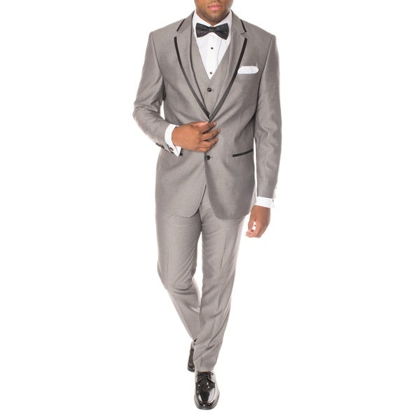Ferrecci Premium Vested Grey and Black Slim-fit 3-piece Tuxedo