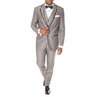 Ferrecci Premium Vested Grey and Black Slim-fit 3-piece Tuxedo (Option: 54l)