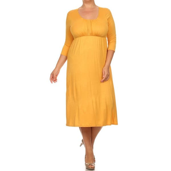 Shop Women\'s Rayon and Spandex Plus-size Solid Dress - Free ...