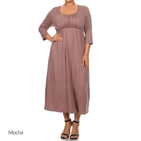 Women's Rayon and Spandex Plus-size Solid Dress
